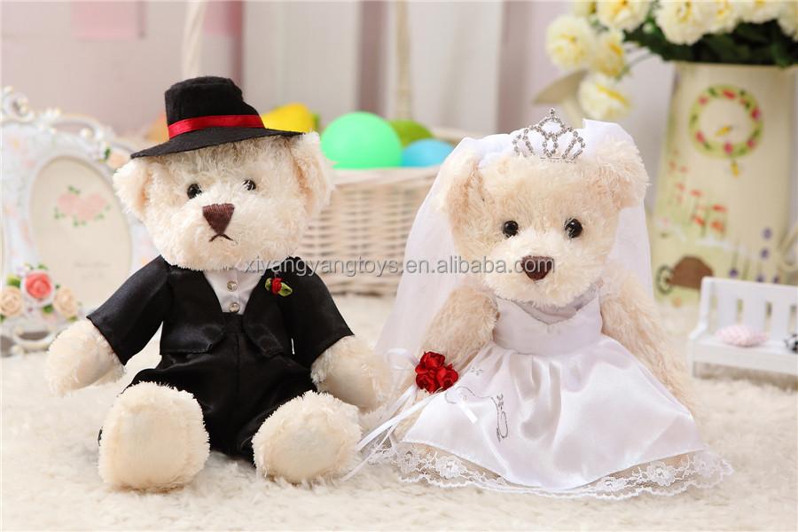 Coppia abito da sposa orso di peluche, matrimonio orso giocattolo farcito, nozze favore orsacchiotto