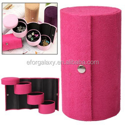 New product Jewelry Box Ornaments Case Jewellery Box Jewel Case with Cylinder Pattern (Magenta)