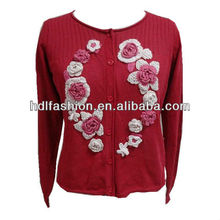 Ladies long sleeve cardigan with crochet flowers knitwear