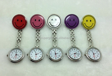 Smile Face Nurse Fob Watch Clip Watch Medical Use Pocket Quartz Clasp Watch