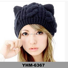 Women Devil Horns Cat Ear Winter Beanie Crochet Braided Knit Ski Hat Cap