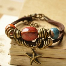 Factory direct starfish big beads vintage diy bracelets with extend chain