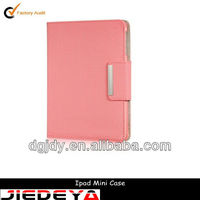 Pink swivel PU embossed dot leather case for iPad mini.
