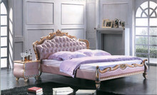 Romantic style luxury princess bed for soft leather bed in pink