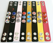2015 new trendy DIY leather interchangeable snap press button bracelet jewelry