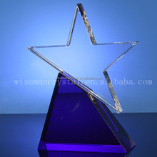 Blank High Quality K9 Star Shape Crystal Awards Plaque with Blue Base