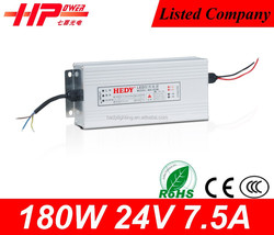 Guangzhou Supplier 180W 24V led switched power supply CE Rohs SAA approved 24 volt ac power supply