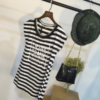 2015 Fashion Braided chain striped custom print cotton tshirt