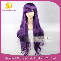 YSW14 Women's Natural Wave Heat Resistant Synthetic Hair Harajuku Style Long Purple Wig