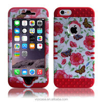 3 Layer Mobile Telephone Shell pc Silicone Fishbone Red cell phone Case For iPhone4/4s