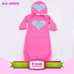 Newest Design cotton Newborn hot pink Baby Night Gown Baby Long Sleeve Blank Gown
