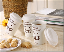 special design smile face ceramic mug similar to paper cup
