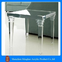 Crystal Acrylic Side Console Table, 4 legged Clear Acrylic Coffee Table