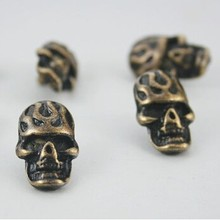 NO.633 12x20 mm toxic skull Zinc Antique Brass Fire Skull Rivet Stud Conchos Leathercraft Decoration