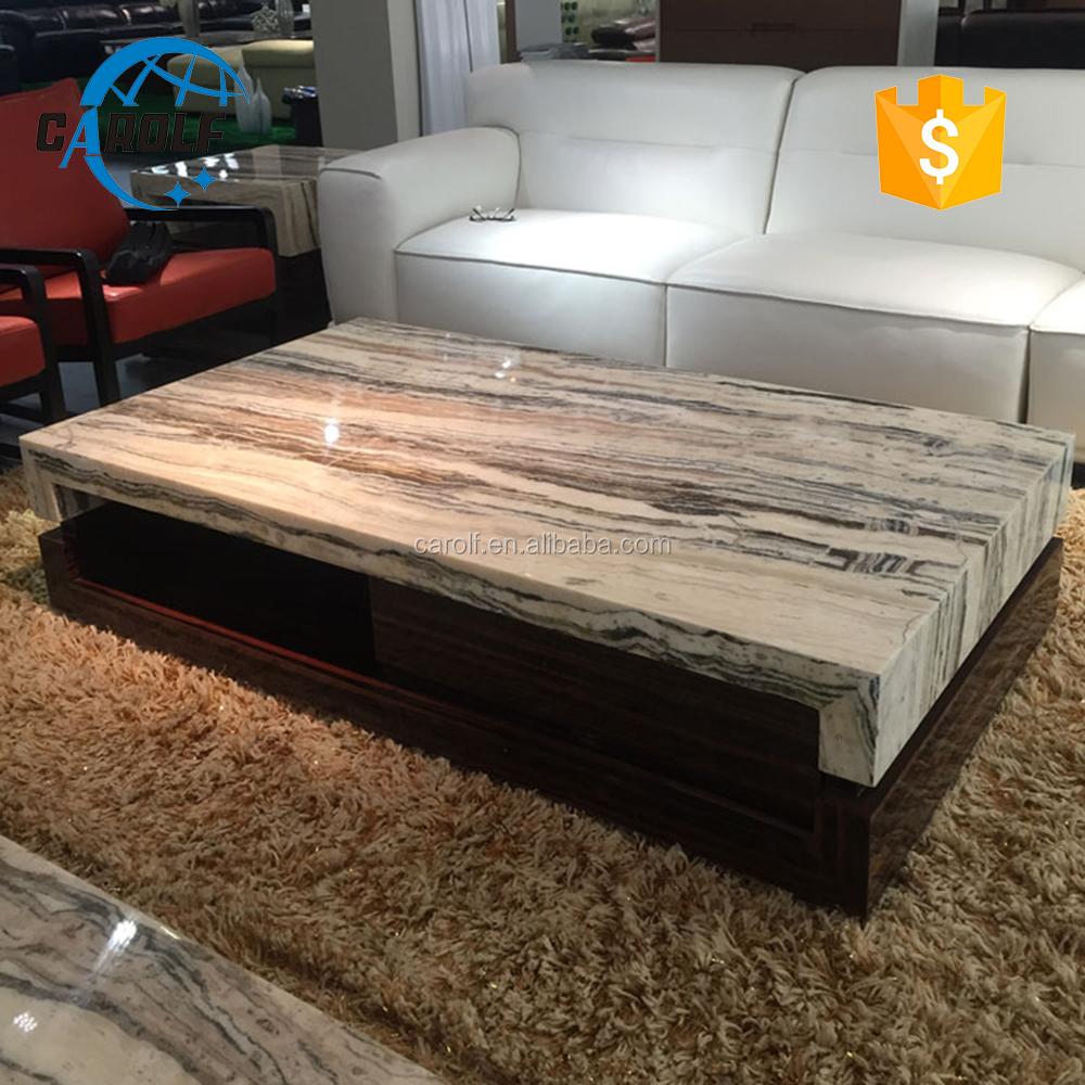 Base de madera de diseño mesa de centro <span class=keywords><strong>superior</strong></span> de mármol Natural
