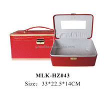 Top level classical round leather cosmetic case