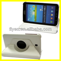 lichi pattern 360 degree rotating Stand Leather Case Cover for Samsung Galaxy Tab 3 7.0 P3200 white
