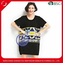 Custom wholesale women black overszied tshirt with printing