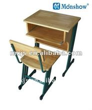 Soild wood Student desk with chair set from China school furniture