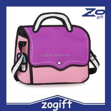 ZOGIFT New Fashion 3D Cartoon Comic Women's Handbags/2D Shoulder Bag/Stocked Ladies 3D Bag