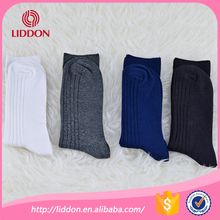 Men 100 pure cotton ribbed plain colour crew socks