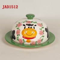 cow shape animal ceramic Butter Plate Butter Dish With Cover