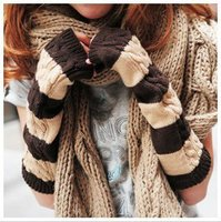 long gloves knitting warm color stripe arm sleeve, fashion arm covers for female