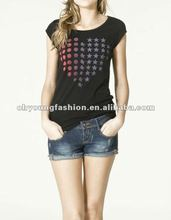 2012 ladies trendy cotton and spandex sport plain color O neck tight fit short sleeve T-shirt with dot printing