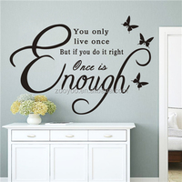 ZOOYOO once life is enough home decors DIY self adhesive wallpapers true life meaning brand stickers (8384B)