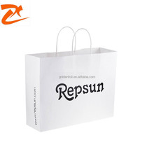 2015 New arrival white kraft cheap cuntomised paper bag, twist paper handle shopping bag