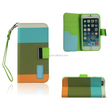 Ebay Top Sales Retro Mixed Color With Lanyard Pu Leather Wallet Case For iPhone 6/6 plus