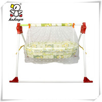 Portable and Stable Yellow Metal Baby Hanging Cradle, Comfortable Folding Baby Swing Bed with Mosquito Net