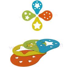 CC8515 4 piezas de plantillas de plástico con estrellas para decoración de tortas con grado de seguridad alimentaria.