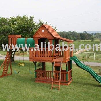 Wood bridge wooden swing set playhouse buy playhouse for Wooden swing set with bridge