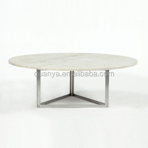 Marble top dining table ss base dining table white round dinin table