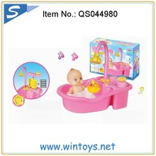 electric plastic doll bath set tube spray water with light music