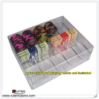 200pc clear acrylic chip tray with lid