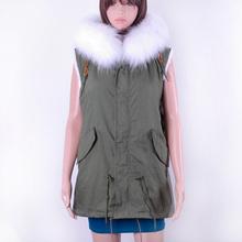 Facotory price fashion fully rabbit fur lining fur vest /winter fur parka vest/raccoon fur collar fur vest KZ150137