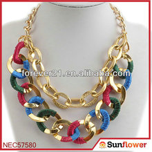 Simple Gold Chain Place & Route Double Layered Necklace