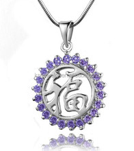 Fashion Silver Initial Jewelry Party Initial Pendant with Beautiful zircon Wholesale