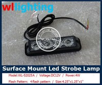 Vehicle Car Truck 4 LED 4W Emergency Strobe Light Car Grille Surface Mount Grille Strobe Light