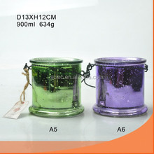 electroplate glass candle jar, candle holder with wire
