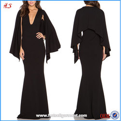 China Alibaba Website Clothing Names of Ladies Dresses Cape For Evening Dress Black Cape Gown Women Long Maxi Dress