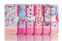 FLOWER Book Leather Case Cover Pouch for Apple iPhone 5G 5S ,inner standing