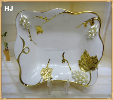 Yiwu factory direct selling colored rectangle fruit plate with jewels for gifts ceramic plate