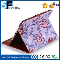 Side flip holder mix color flower pattern case for ipad 6/air 2