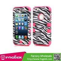 Fogeek High Quality 3 in 1 Zebra Texture Silicone Gel & Plastic Hybrid Case Cover for iPhone 5