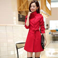 2015 Black Red Colors Woman Winter Coat with Belt 8004