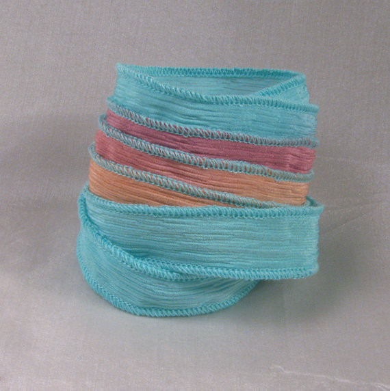 Silk Crinkle Ribbon - Hand Dyed Silk Ribbon Jewelry Bracelet - Fairy Ribbons - Escape