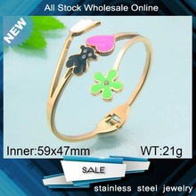 bear charm beautiful color enamel rose gold bangles gold designs